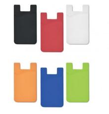 Porte cartes de visite en silicone à coller sur un téléphone portable