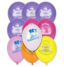 10 Ballons Joyeux anniversaire