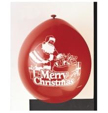 10 Ballons latex rouge Merry Christmas 23 cm