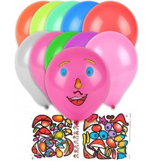 Lot de 10 Ballons à Motifs Stickers Visage