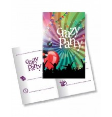 "Paquet de 10 Cartons d'Invitation avec Enveloppes ""Crazy Party"""