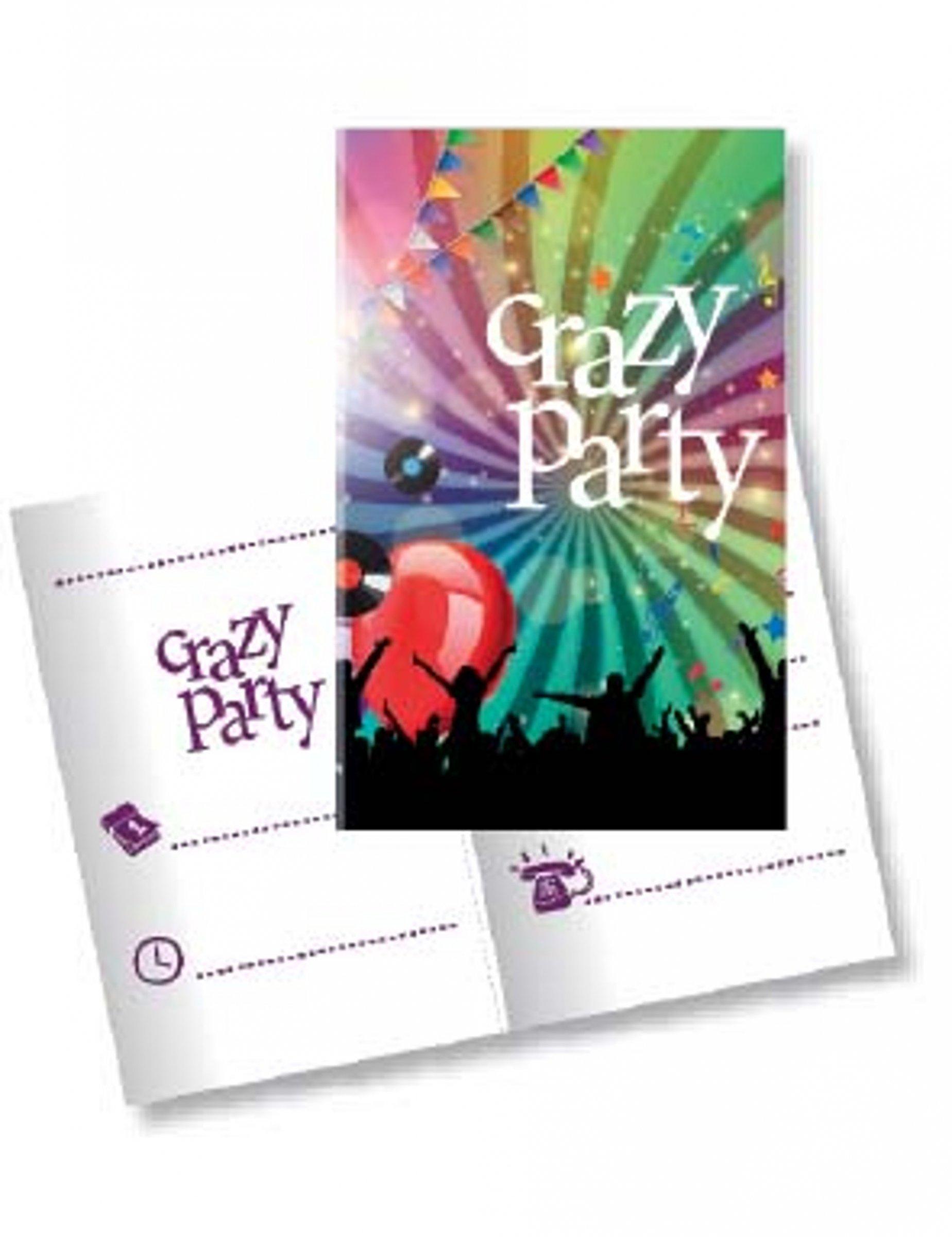 10 Cartons d'invitation avec enveloppes Crazy Party 11 x 22 cm