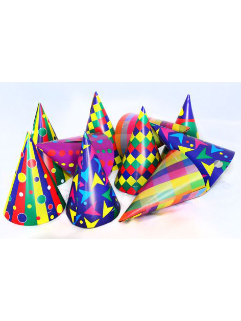 Lot de 10 chapeaux de fêtes pointus multicolores