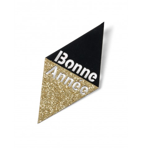 10 Confettis Bonne année noir et or 8 cm