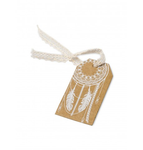 10 Etiquettes plumes Kraft Boho