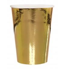Sachet de 10 gobelets en carton en or métallisé