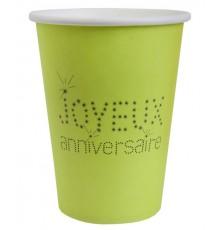 Gobelets verts Joyeux anniversaire
