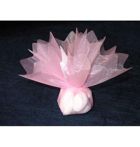 10 voiles rond brillant dragée rose