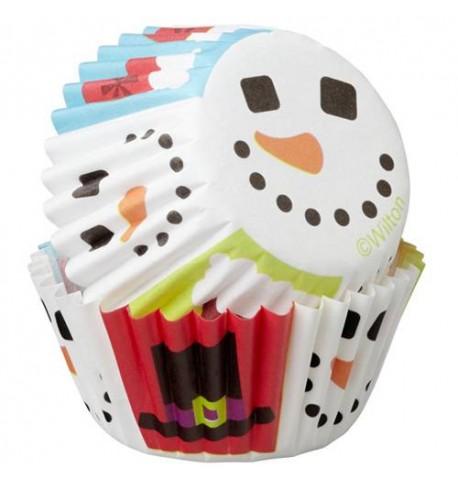 100 Mini moules à cupcake bonhomme de neige