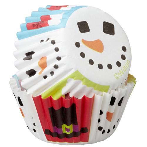 Lot de 100 mini moules à cupcake bonhomme de neige