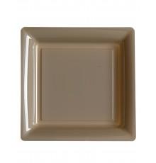 12 Assiettes carrées en plastique taupe 23,5 cm