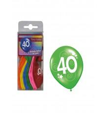 12 Ballons différentes couleurs chiffre âge 40