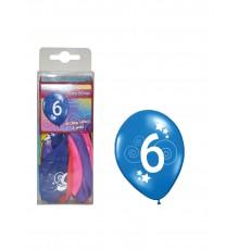 12 Ballons différentes couleurs chiffre âge 6