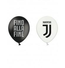 12 Ballons en latex Juventus noirs et blancs 30 cm