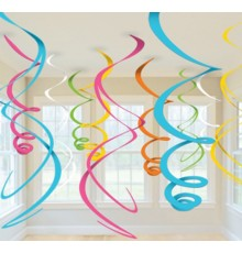 12 suspensions spirales multicolores