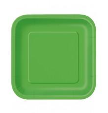 14 Assiettes carrées vert citron en carton 23 cm