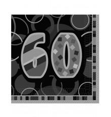 Serviettes en papier âge 60 33 x 33 cm  par lot de 16