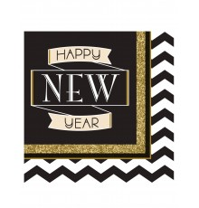 "Lot de 16 Serviettes en Papier ""Happy New Year"" Noir et Or"