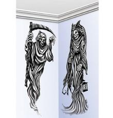2 Décorations murales faucheuse 150 cm Halloween