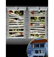 Paire de Décorations Zombies Enfermés pour Fenêtre