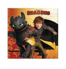 20 Serviettes en papier Dragons 33 x 33 cm