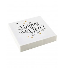 20 Serviettes en papier Happy New Year doré 33 x 33 cm