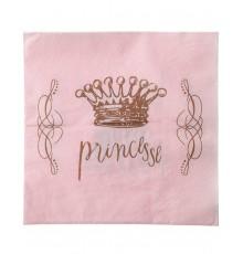 20 Serviettes en papier Princesse Rose 33 x 33 cm