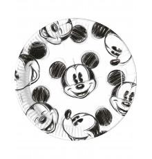 Lot de 25 Assiettes en Carton Mickey Noir et Blanc 23 cm
