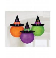 3 Lanternes en papier avec chapeau de sorcière Family Friendly 24cm