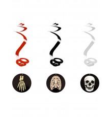 3 Suspensions spirale Halloween squelette 60 cm