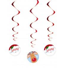 Lot de 3 Suspensions Spirales en Aluminium Père Noël et Renne