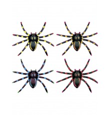 Ensemble de quatre araignées noires avec motif fluo