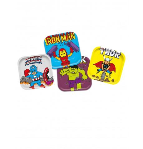 4 Assiettes en carton carré premium Avengers pop comic 24 x 24 cm