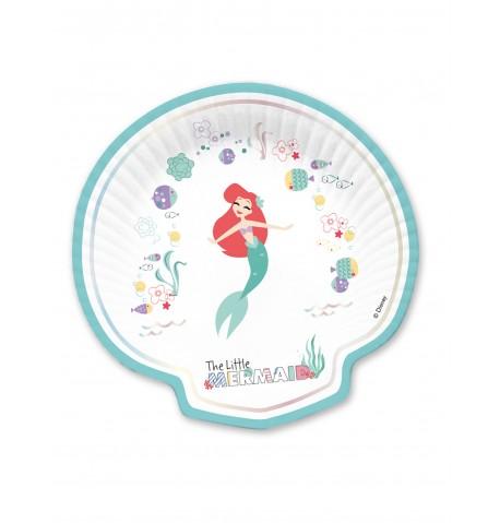 4 Assiettes en carton forme coquillage premium Ariel 24 x 24 cm