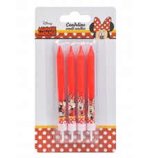 4 Bougies d'anniversaire Minnie 9 cm