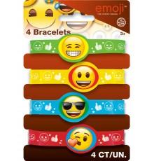 Lot de 4 bracelets à motif Emoji
