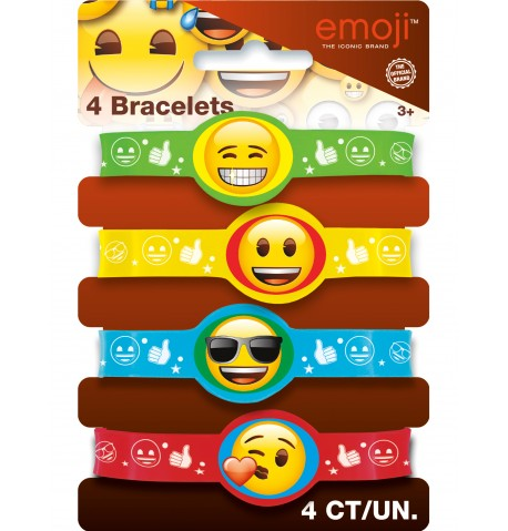 4 Bracelets en caoutchouc Emoji