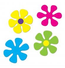 4 Décorations en carton Fleurs rétro 30 et 34 cm