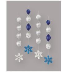4 Suspensions spirale flocons de neige