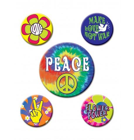 5 Badges 60's Hippies 3,5 à 6 cm