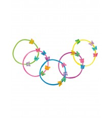 Lot de 5 Bracelets Papillons Colorés en Plastique Souple