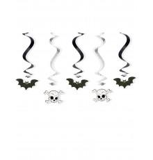 5 Décorations à suspendre spirales Halloween 60 cm