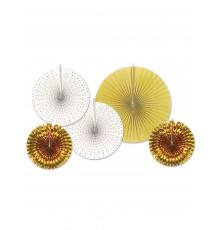 5 Rosaces en papier blanches et dorées