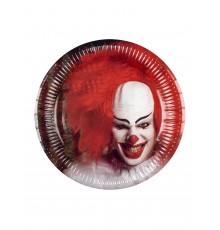 6 Assiettes en carton Clown terrifiant 23 cm