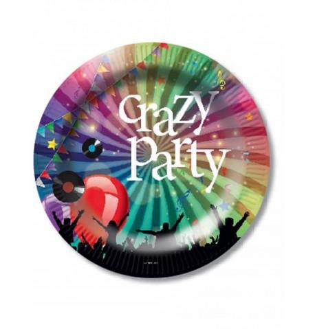 Assortiment de 6 assiettes en carton Crazy Party