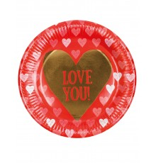 "Pack de 6 Assiettes ""Love you"" en Carton"