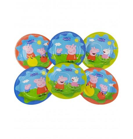 6 Assiettes en carton Peppa Pig 23 cm