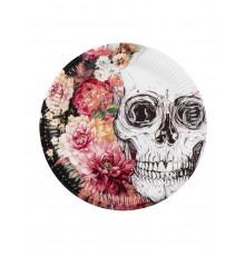 Assiettes par lot de 6 à motif crâne et jolies fleurs