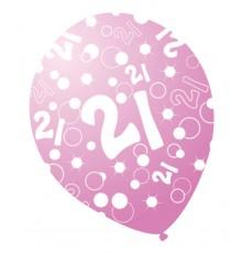 6 Ballons âges nacrés rose