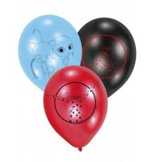 6 Ballons en latex Ladybug 22,8 cm